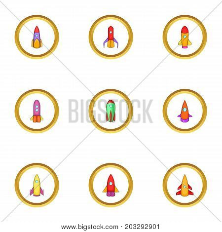 Space vehicle icons set. Cartoon set of 9 space vehicle vector icons for web isolated on white background