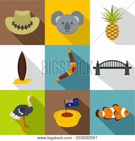 Landmarks of Australia icon set. Flat style set of 9 landmarks of Australia vector icons for web design