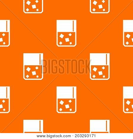 Glass of whiskey and ice pattern repeat seamless in orange color for any design. Vector geometric illustration