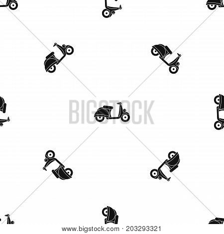 Motorbike pattern repeat seamless in black color for any design. Vector geometric illustration