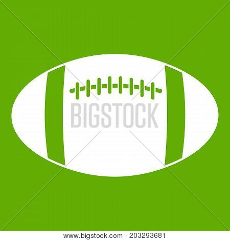 Rugby ball icon white isolated on green background. Vector illustration