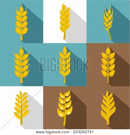 Grains icon set. Flat style set of 9 grains vector icons for web design
