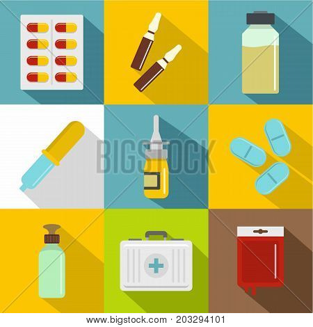 Medicinal preparations icon set. Flat style set of 9 medicinal preparations vector icons for web design