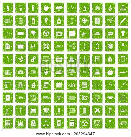 100 company icons set in grunge style green color isolated on white background vector illustration