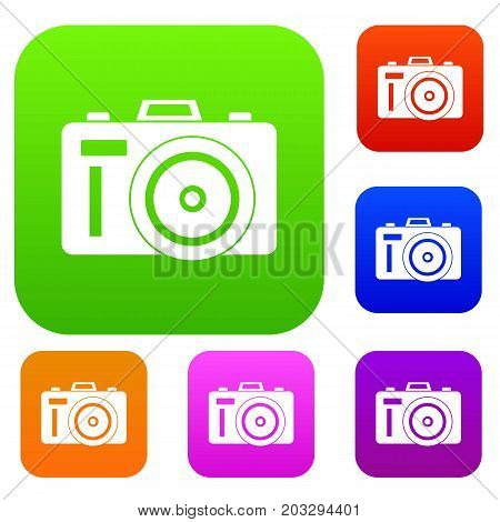 Photocamera set icon in different colors isolated vector illustration. Premium collection