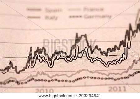 Newspaper illustration with a schedule of the cost of financial shares