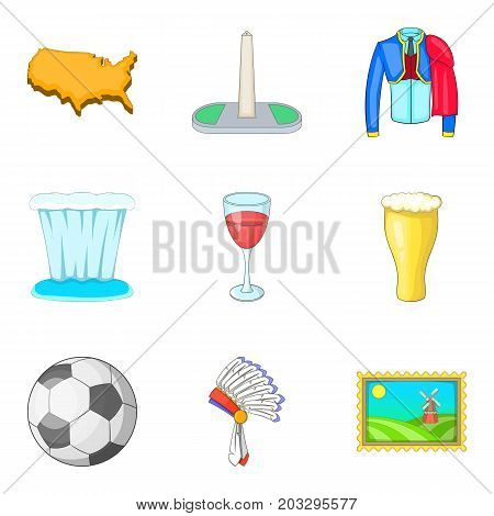 Cultural value icons set. Cartoon set of 9 cultural value vector icons for web isolated on white background