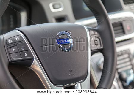 ROSTOCK / GERMANY - AUGUST 12 2017: steering wheel in a Volvo cockpit on public event hanse sail
