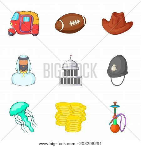 Modern england icons set. Cartoon set of 9 modern england vector icons for web isolated on white background