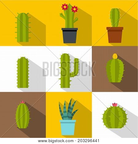 Types of cactus icon set. Flat style set of 9 types of cactus vector icons for web design