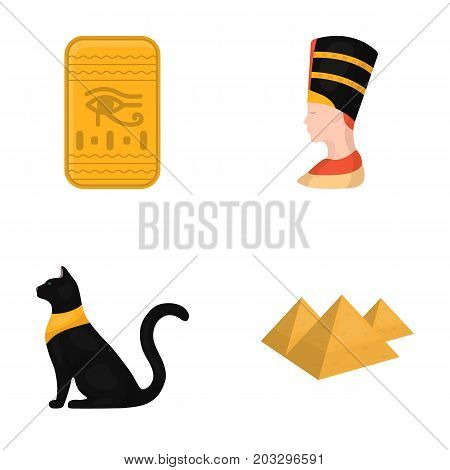 Eye of Horus, black Egyptian cat, pyramids, head of Nefertiti.Ancient Egypt set collection icons in cartoon style vector symbol stock illustration .