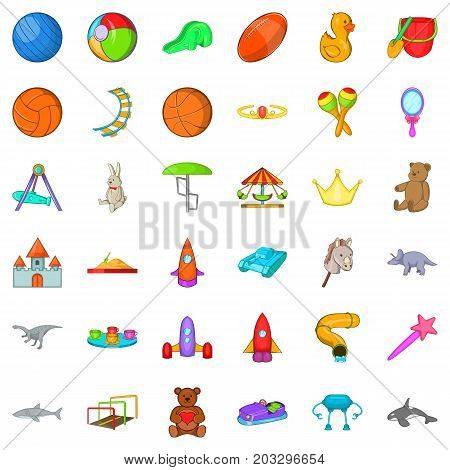 Children toy icons set. Cartoon style of 36 children toy vector icons for web isolated on white background