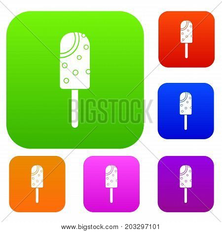 Ice cream set icon in different colors isolated vector illustration. Premium collection