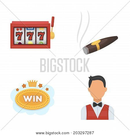 A gaming machine a one-armed bandit, a cigar with smoke, a five-star hotel sign, a dilettante in a vest. Casinos and gambling set collection icons in cartoon style vector symbol stock illustration .