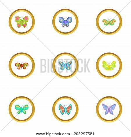 Flying butterflies icons set. Cartoon set of 9 flying butterflies vector icons for web isolated on white background