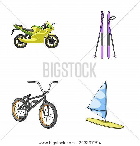Motorcycle, mountain skiing, biking, surfing with a sail.Extreme sport set collection icons in cartoon style vector symbol stock illustration .