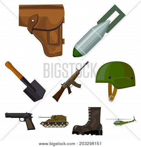 Military and army set icons in cartoon design. Big collection of military and army vector symbol stock illustration
