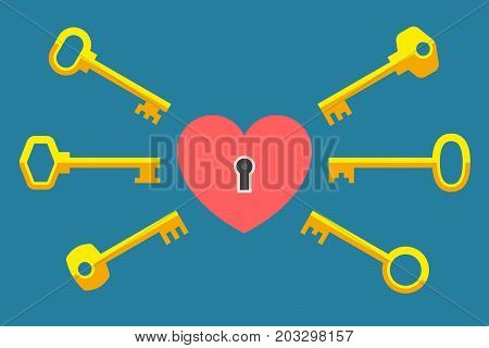 Heart-lock and various keys nearby. One key for one heart. True love concept