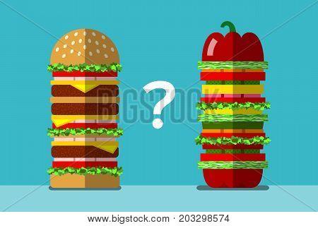 Big fast food sandwich and big veggie sandwich. Healthy and unhealthy food. Fast food and vegetarian food