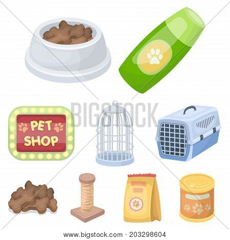 Collar, pet food and other products. Pet shop set collection icons in cartoon style vector symbol stock illustration .