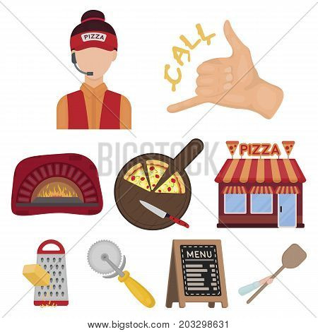 Pizza and pizzeria set icons in cartoon style. Big collection of pizza and pizzeria vector symbol stock