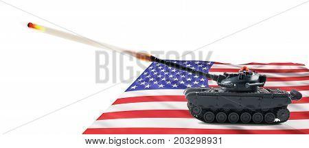 American fire power with a tank firing.