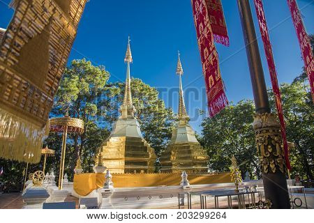 Two golden pagodas at Phra That Doi Tung temple Doi tung is a name of mountain in Chiang Rai provincethat located of doi tung pagoda one of famous place and historic for buddhism in Thailand
