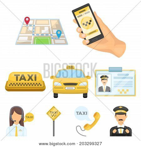 Set of icons about the taxi. A call taxi driver, Parking. Transportation around the city.Taxi icon in set collection on cartoon style vector symbol stock web illustration.