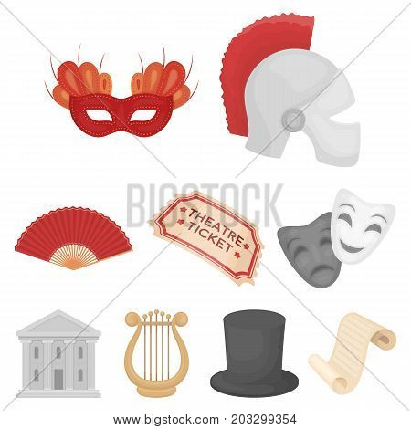 Theater set icons in cartoon style. Big collection of theater vector symbol stock