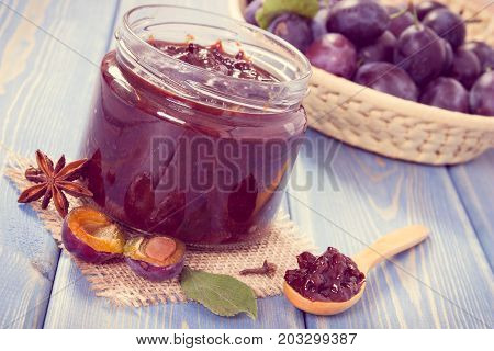 Vintage Photo, Fresh Plum Marmalade In Jar, Spices And Ripe Fruits In Wicker Basket, Healthy Sweet D