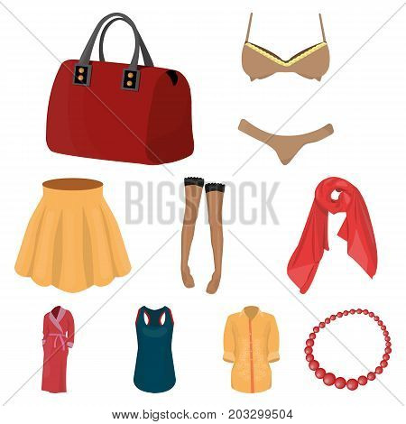 Pictures about types of women's clothing. Outerwear and underwear for women and girls. Woman clothes icon in set collection on cartoon style vector symbol stock web illustration.