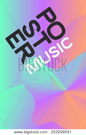 Poster electronic music. Colour pastel flyer disco. Billboard nightclub party event. Colorful lines. Vector illustration