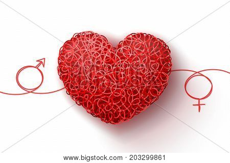Male and female symbols and heart woven from red threads. Heterosexual love