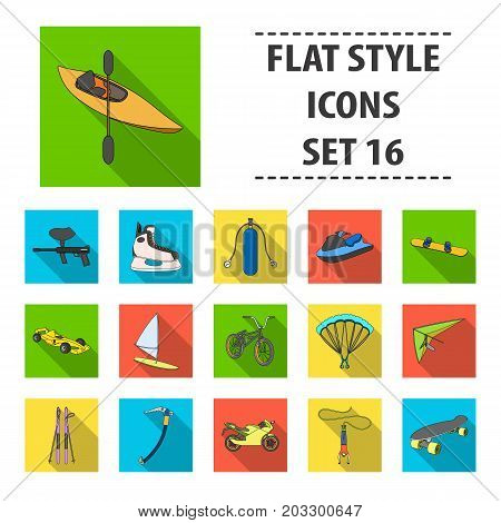 Motorcycle racing, downhill skiing, jumping, parachuting and other sports. Extreme sports set collection icons in flat style vector symbol stock illustration .