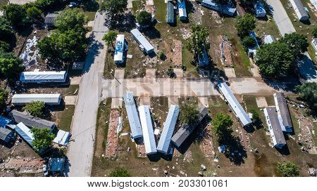 Aerial drone view looking down on National Disaster in La Grange Texas after Hurricane Harvey Destroyed Texas