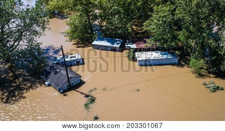 Hurricane Harvey Massive Flooding Columbus Texas small Town destruction close up