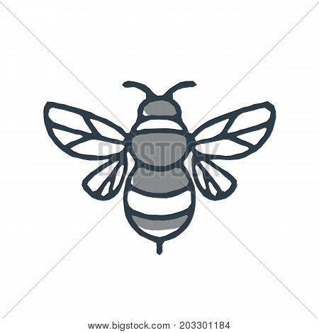 Mono line icon style illustration of a bumblebee or bumble bee a member of the genus Bombus part of Apidae on isolated white background.