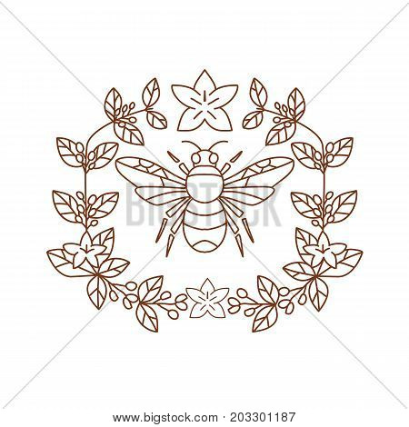 Icon style illustration of Bumblebee member of genus Bombus part of Apidae with open wing and framed with Coffee Flower floral Leaves on isolated background.