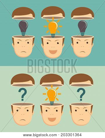 Leadership and teamwork concept with question marks and Shining Light Bulb in the open heads on background. Stock flat vector illustration.