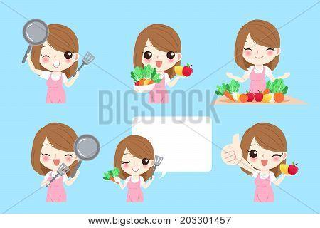 cute cartoon housewife on the lbue bakckground