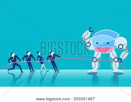 business people tug of war with artificial intelligence