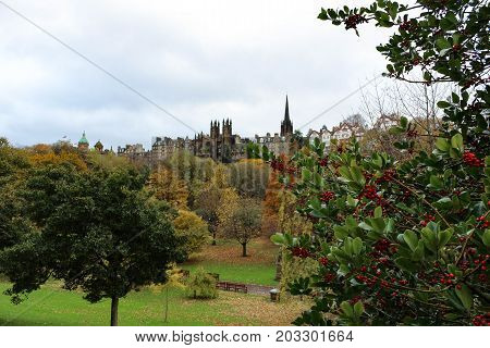 Stunning view of Princes Street Garden and its autumn or early winter foliage and Old Town Edinburgh Scotland.