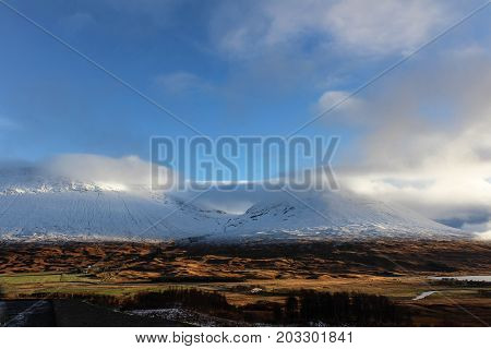 Glorious view of The mountains of the Scottish Highlands from Fort William.