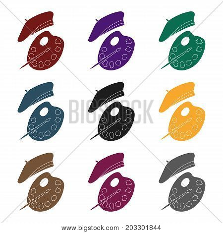 Painting palette and beret icon in black design isolated on white background. France country symbol stock vector illustration.