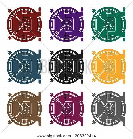 Bank vault icon in black style isolated on white background. Money and finance symbol vector illustration.