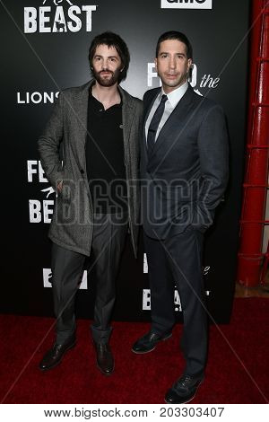 NEW YORK - MAY 23: Jim Sturgess (L) and David Schwimmer attend the AMC's 'Feed The Beast' premiere on May 23, 2016 in New York City.