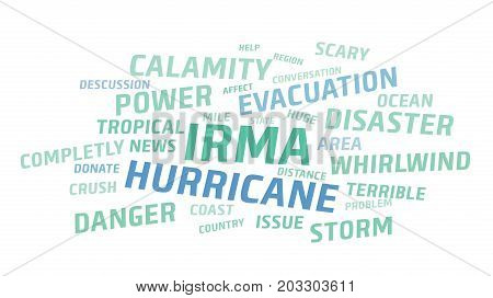 Irma hurricane 2017, abstract text vector background