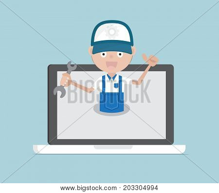 man holding wrench on laptop system maintenance services and technical support concept cartoon vector illustration