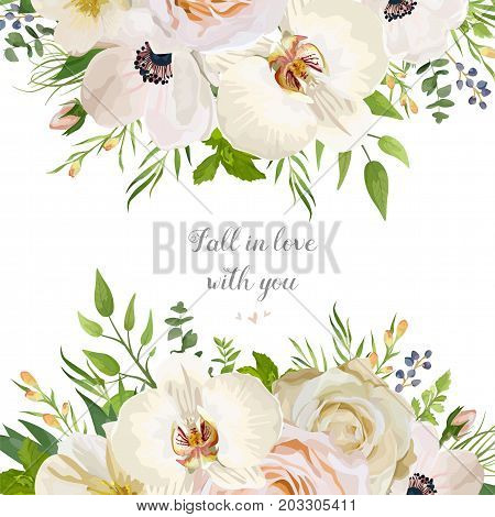 Vector floral design card with garden Rose Anemone white Orchid Camellia Eucalyptus seeded branch wax flowers mint herb green leaves Wedding vector invite illustration Watercolor romantic border frame