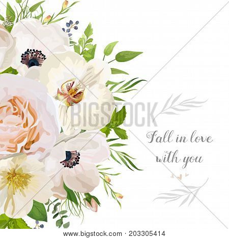 Vector floral design card: garden pink peach Rose Anemone white Orchid Camellia Eucalyptus wax flowers mint leaf herb green leaves half round bouquet Wedding vector invitation Watercolor border frame